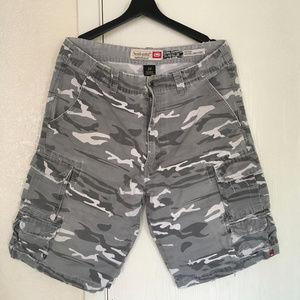 Men's Gray Camo Cargo Shorts Ecko Unltd